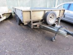 IFOR WILLIAMS LM146G3 TRIAXLED PLANT TRAILER. 14FT X 6FT WITH SLIDE OUT LOADING RAMPS, SPARE WHEEL A