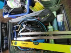 BOX OF TOOLS, ELECTRICAL WIRE PLUS A BOX OF GLOVES ETC.