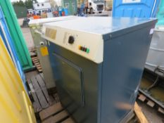 INDUSTRIAL WASHING MACHINE AND DRIER, SOURCED FROM COUNCIL BLOCK DUE TO A CHANGE IN POLICY.