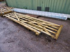 2 X WOODEN FIELD GATES. 4.08M AND 3M APPROX.