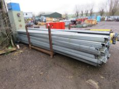 STILLAGE CONTAINING APPROXIMATELY 32 X GALVANISED C SECTION PURLINS FOR MEZZANINE FLOOR OR SIMILAR,