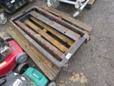 PAIR OF FORKLIFT TINES PLUS A BACKPLATE.