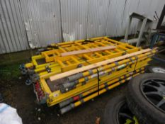 DOUBLE WIDTH GRP4.2m PLATFORM HEIGHT SCAFFOLD TOWER WITH BOARDS, BRACES, WHEELS ETC.