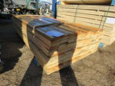 PACK OF UNTREATED FLAT BOARD TIMBER FENCE CLADDING. 1.74M LENGTH X 10CM WIDTH APPROX.