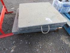 SET OF 4 X CRANE BLOCK PAD FEET, 80CM WIDE APPROX. SOURCED FROM SITE CLEARANCE PROJECT.