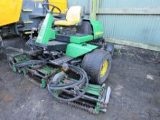 JOHN DEERE 3235B 5 GANG RIDE ON CYLINDER MOWER, 4 WHEEL DRIVE. YEAR 2002 APPROX, 2874 REC HOURS.