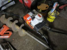 STIHL BT360 2 HANDLED POST HOLE BORER. WHEN TESTED WAS SEEN TO RUN AND BLADE TURNED.