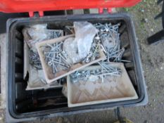 2 X TOOL BOXES/FIRE EXTINGUISHER BOXES WITH ASSORTED FIXINGS, BOLTS ETC.