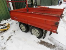 HI-LINE MULTI TIP TOWED TIPPING TRAILER. BEEN STANDING FOR SOME TIME, WAS TIPPING OK WHEN LAST USED.
