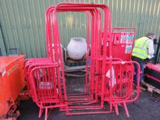 9 X RED PEDESTRIAN BARRIER WALKWAY GATES.
