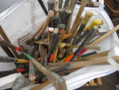 BULK BAG CONTAINING ASSORTED HAND TOOLS TO INCLUDE SLEDGE HAMMERS AND PICK AXES ETC.
