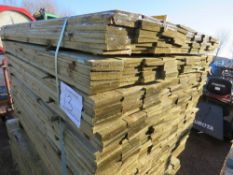 EXTRA LARGE PACK OF TREATED FEATHER EDGE FENCE CLADDING TIMBERS. 1.5M X 10CM WIDTH APPROX.