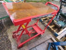 CLARKE STRONGARM PLATFORM TABLE. WHEN TESTED WAS SEEN TO LIFT AND LOWER.
