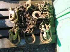 PALLET CONTAINING 3 X ASSORTED LIFTING CHAINS, UNTESTED.