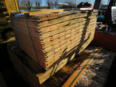 SMALL PACK OF UNTREATED SHIPLAP FENCE CLADDING BOARDS. 0.81M X 10CM APPROX.