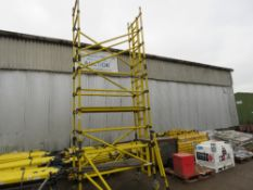 GRP SCAFFOLD TOWER WITH LEGS, 4.2M PLATFORM HEIGHT. UPRIGHTS, BOARDS, KICK BOARDS AND WHEELS. NARROW