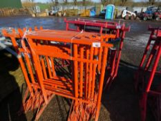 9 X ORANGE BUILDER'S TRESTLE STANDS. DIRECT FROM LOCAL COMPANY DUE TO CLOSURE OF SMALL PLANT HIRE PA