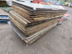 APPROXIMATELY 54 X ASSORTED PRE USED TIMBER SHEETS. (SOME HAVE NOTCHES CUT OUT OF THEM AS SHOWN).