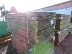 LARGE PACK OF TREATED SHIPLAP FENCE CLADDING TIMBERS. 1.73M X 10CM WIDTH APPROX.