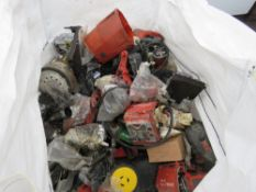 BULK BAG CONTAINING ASSORTED HILTI AND OTHER POWER TOOL PARTS, INCLUDING DIAMOND DRILLING UNITS/PART