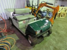 CLUBCAR BATTERY POWERED BUGGY WITH CHARGER. WHEN TESTED WAS SEEN TO RUN AND DRIVE.