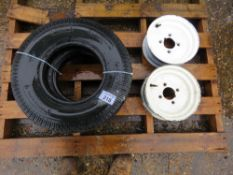 2 X 4 STUD TRAILER RIMS WITH TYRES, 5.00 X 10.