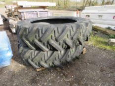 2 X TRACTOR REAR TYRES, 13.6R36 SIZE.