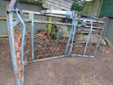 TRACTOR MOUNTED FOLDING GRASS HARROWS. 12FT TOTAL WIDTH APPROX.