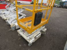 HYBRID HB830 SCISSOR LIFT ACCESS PLATFORM, (YELLOW) 14FT MAX WORKING HEIGHT. SN:E0512020. UNTESTED,