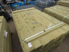 LARGE PACK OF TREATED FEATHER EDGE FENCE CLADDING TIMBER, 1.65M LENGTH X 10CM APPROX.