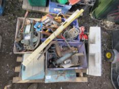 PALLET OF SHED CLEARANCE ITEMS TO INCLUDE DRIP TRAY, TOOLS ETC.