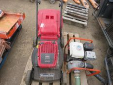 PETROL ENGINED MOWER WITH BOX.