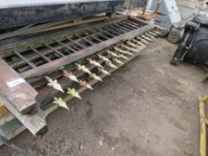 PAIR OF ORNATE SPIKE TOPPED WOODEN GATES FOR RESTORATION, 12FT OPENING APPROX.
