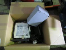 BOX OF LIGHTS AND ASSOCIATED ELECTRICAL ITEMS.