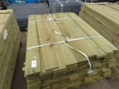 LARGE PACK OF TREATED FEATHER EDGE FENCE CLADDING TIMBER, 1.20M LENGTH X 10CM APPROX.