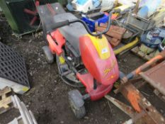 WOLF SCOOTER RIDE ON MOWER. USED LAST YEAR. BATTERY FLAT SO UNTESTED.