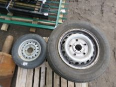 3 X TRANSIT WHEELS AND TYRES PLUS A TRAILER WHEEL AND TYRE. DIRECT FROM LOCAL COMPANY DUE TO CLOSURE