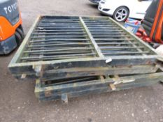 2 X HEAVY DUTY FOLDING YARD GATES. EACH SECTION IS 6FT X 6FT APPROX, GIVING TOTAL SPAN OF 24FT APPRO