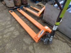 LOADSURFER LONG TINED PALLET TRUCK. WHEN TESTED WAS SEEN TO LIFT AND LOWER.