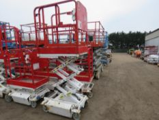 HYBRID HB830 SCISSOR LIFT ACCESS PLATFORM, 14FT MAX WORKING HEIGHT. SN:E0510097.WHEN TESTED WAS SEEN