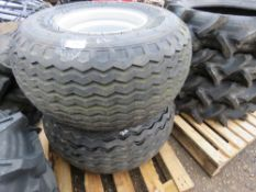 2 X TRAILER WHEELS AND TYRES, LITTLE USED (ONE TYRE DAMAGED) 4.00/60-15.5 ON 6 STUD RIMS.