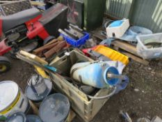PALLETOF SUNDRIES INCLUDING TOOLS AND SAWS ETC.