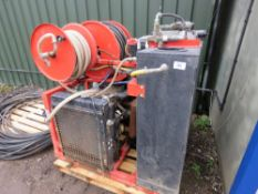 FLEXIAN HIGH PRESSURE VAN MOUNTED JETTER/WASHER WITH HOSES AND GUN. HYDRAULIC FEED REEL. ISUZU 4 CYL