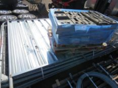13 X HERAS TYPE FENCE PANELS PLUS A GATE AND HOARDING PANEL PLUS PALLET OF FEET.