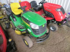 JOHN DEERE 135R RIDE ON MOWER WITH COLLECTOR. 157 REC HRS. WHEN TESTED WAS SEEN TO RUN AND DRIVE AN