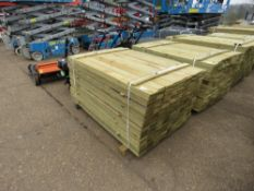 LARGE PACK OF TREATED FEATHER EDGE FENCE CLADDING TIMBER, 1.5M LENGTH X 10CM APPROX.
