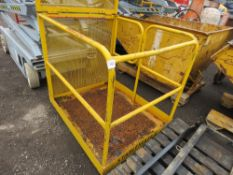 FORKLIFT MAN CAGE WITH FOLDING REAR PROTECTION SCREEN FOR EASE OF TRANSPORT.