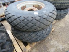 2 X WHEEL AND TYRES, GOODYEAR GRASS TREAD PATTERN SIZE 14.9-24 FOR COMPACT TRACTOR.