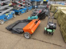 """HUSQVARNA 44"""" WIDE TOWED GARDEN SWEEPER, LITTLE SIGN OF USEAGE."""