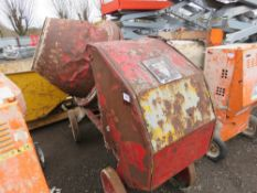 BIG BOWLED DIESEL SITE MIXER WITH PETTER HANDLE START ENGINE, WITH HANDLE. WHEN TESTED WAS SEEN TO
